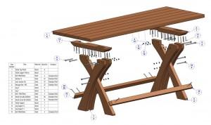 Steigerhouten tuintafel bouwtekening.