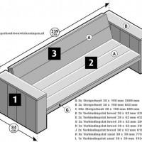 Loungeset van steigerhout maken, bouwtekening voor een loungebank.