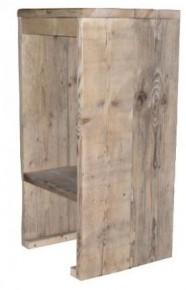 Houten barkruk om zelf te maken van steigerplanken.