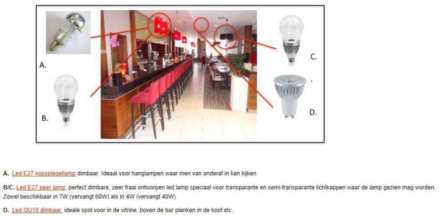 lampen voor horeca verlichting