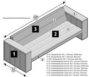 Steigerhout loungebank voor gebruik als horeca terrasmeubilair.
