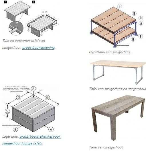 Houten tafels en tafels van steigerbuizen.
